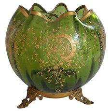 MOSER Art Glass Enameled Large ROSE BOWL, Ormolu, Green c. 1885