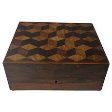 Rare Gentleman's Rosewood Travel / Shaving Box, Inlaid Tumbling Cubes Design