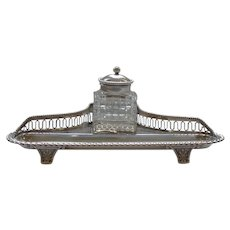 Gorham Sterling Silver Inkstand, Cut Glass Inkwell