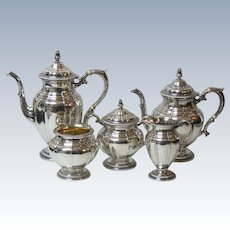 Gorham Gadroon Sterling Silver 5-Piece Coffee / Tea Set, 2740 grams