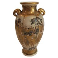 "19th C. Japanese Satsuma 7"" Enameled & Gilt Decorated Vase, Elephant Handles"