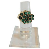 Estate 18 K Gold & Emerald Custom Made Ring, Size 6.25
