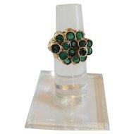 Estate 18 K Gold & Emerald Custom Made Ring, Size 6.25