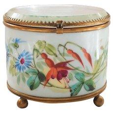 French Glass Top Enamel Decorated Trinket Jewelry Display Box (#4)
