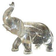 "Hand Carved ROCK CRYSTAL Stone Elephant Figurine, 4.5"""