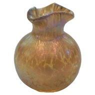 LOETZ Iridescent Art Nouveau Art Glass OIL SPOT Miniature Vase, c. 1900