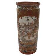 "19th C. Japanese SATSUMA 8.25"" Vase, Meiji Period, Figural Scene"