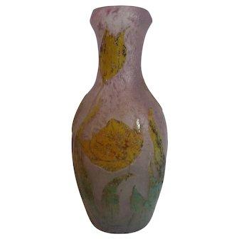"""A. DELATTE Nancy France CAMEO Art Glass 10"""" Vase, c. 1920"""