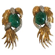 Pair 18 K Gold Emerald & Diamond Fur Clips, Actress THELMA PARR Estate