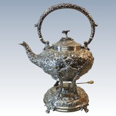 Kirk REPOUSSE Sterling Silver Hot Water Kettle & Stand