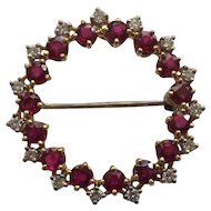 18 Karat GOLD Brooch / Pendant, Diamond & Ruby, Appraised $6650.00
