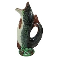 English Majolica Gurgling Fish Pitcher Bouquet Holder