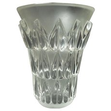 "LALIQUE Frosted & Clear Crystal FEUILLES 7.5"" Art Glass Vase"