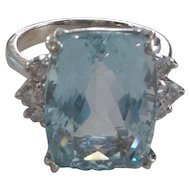 14K White Gold Ring, 14 Ct. Aquamarine & Diamonds, Appraised $4650.00
