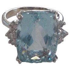 14K White Gold Ring, 14 Ct. Aquamarine & Diamonds, Appraised $4650.00