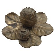 Unusual 19th C. Antique Bronze Leaf Inkstand or Inkwell with Berry or Nut Decoration