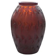 Authentic R. Lalique GRIGNON Vase, Deep AMBER Glass, #1086, c. 1930's, Signed