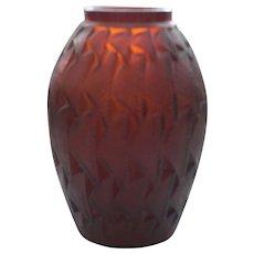 Authentic R. Lalique GRIGNON Vase, Deep AMBER Glass, #1085, c. 1930's, Signed