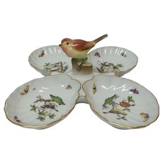 Herend Hungary ROTHSCHILD BIRD 4-Section Relish Tray