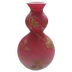 THOMAS WEBB English Peach Blow Satin Cased Glass Vase, Gilt Floral Decoration