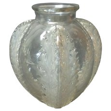 R. LALIQUE Clear & Frosted Crystal CHARDONS Vase, c. 1920's