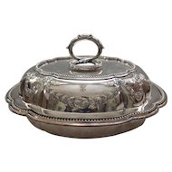 19th C. Embossed Silver Plate Round Lidded VEGETABLE Buffet Bowl or Dish, c. 1840-1893