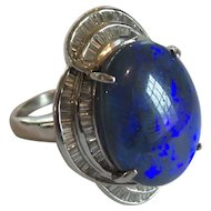 Platinum Cabochon 12.5 Ct. Black Opal & Diamond Ring, Appraised $13,850.00