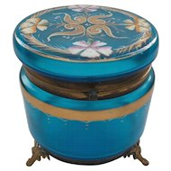 MOSER Art Glass Large Dresser Box, Blue with Enameled Decoration, c. 1890