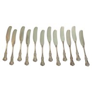 Set/12 Tiffany ENGLISH KING Sterling Silver Butter Spreaders, 355 Grams