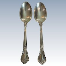 "Pair Gorham CHANTILLY Sterling Silver 8.5"" Serving Spoons"