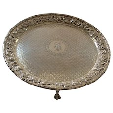 """Vintage Kirk REPOUSSE Sterling Silver 7"""" Footed Tray, #907"""