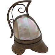 Rare French Ormolu PALAIS ROYAL Gilt Mother-of-Pearl Helmet Shaped SEWING ETUI