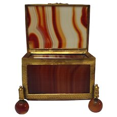 French GRAND TOUR Banded Agate Miniature Specimen Box / Casket
