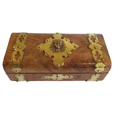 19th C. Burl Wood Sewing Box, Brass Studs & Banding