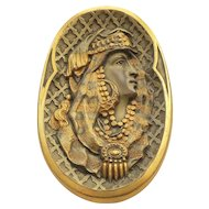 Rare EGYPTIAN REVIVAL Brooch / Pendant, Gilt Bronze with Portrait