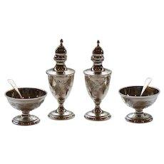 Kirk Sterling Silver Salt Cellars, Shakers & Spoons OLD MARYLAND Engraved