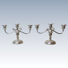 KIRK Sterling Silver REPOUSSE 3-Lite Candelabra Pair