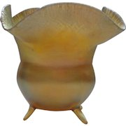 """L C Tiffany FAVRILE Gold Iridescent Small Cauldron Shaped Footed Vase 4"""""""