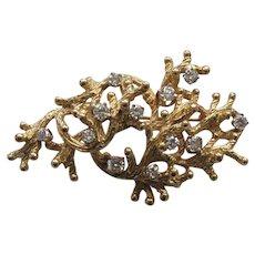 14 Karat GOLD & DIAMOND Brooch, 1.15 Carats, Appraised $3950.00