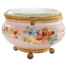 French Glass Top Enamel Decorated Trinket Jewelry Display Box (#5)