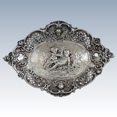 Adorable early 20th C. German .800 Silver Pierced, Chased Small Tray, Cherubs