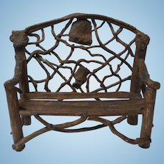 Vintage Hand Crafted Doll's Country / Primitive TWIG Settee (#1)