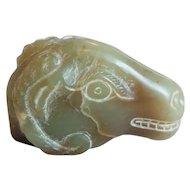 19th C. Hand Carved Japanese Jade Netsuke, Water Buffalo