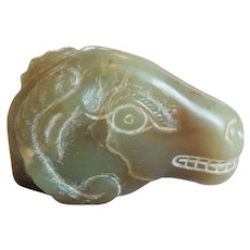 19th C. Hand Carved Japanese Jade Netsuke, Water Buffalo