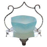 English Silver Plate Basket, Blue Herringbone Mother-of-Pearl Satin Glass Dish, c. 1880