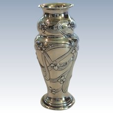 English Art Nouveau Sterling Silver Cabinet Vase, c. 1900