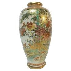 "19th C. Japanese SATSUMA 7"" Vase, Meiji Period, Floral Scenic"