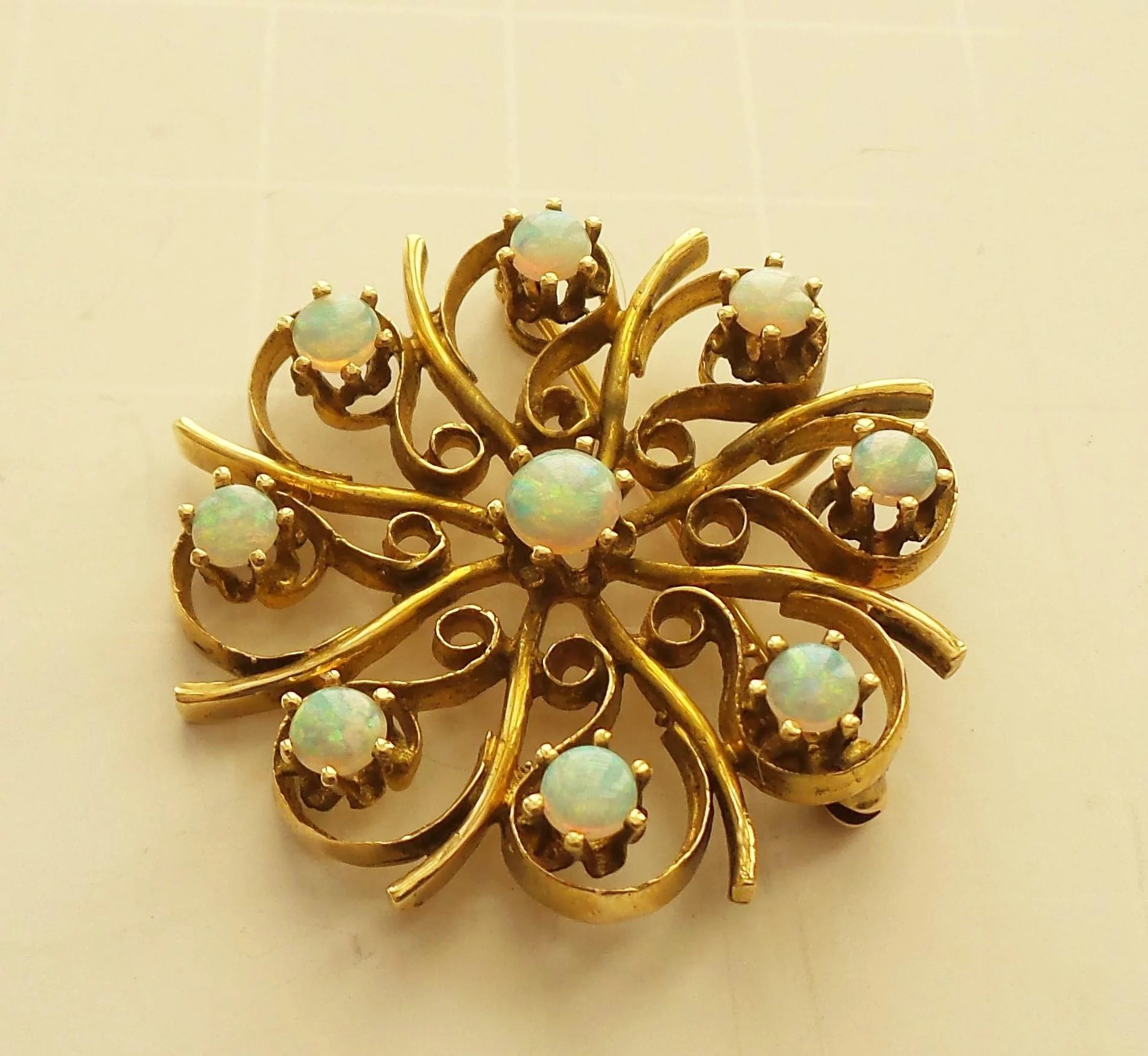 gold crystal opal vintage diamond pendant brooch
