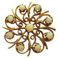 14 Karat Gold & Fire OPAL Brooch / Pendant