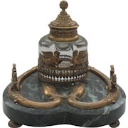 Fabulous 19th C. French Napoleon III Marble & Bronze Inkstand / Inkwell, Dolphins